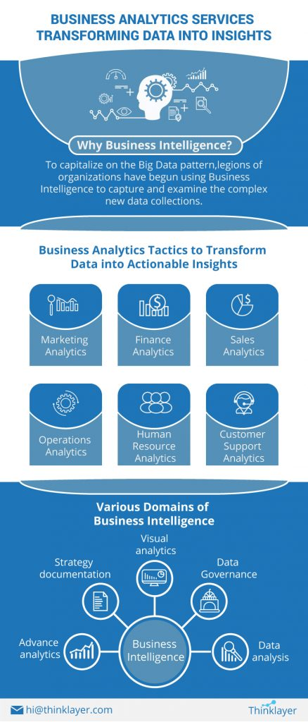 Business Analytics Services Transforming Data into Insights - Infographic - Thinklayer